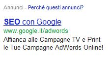 Italian Google ads SEO equal than SEO