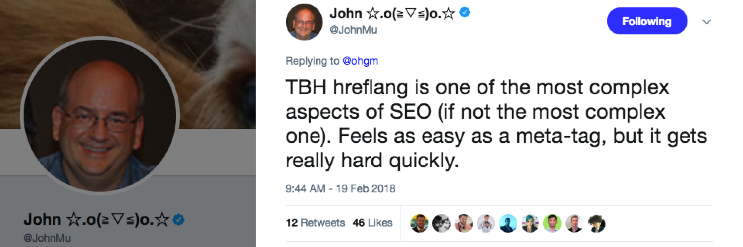 John Mueller tweet about hreflang as the most difficult SEO task of all