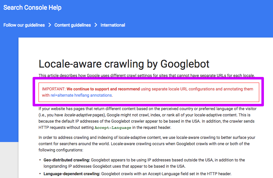 Locale aware crawling by Googlebot ALERT