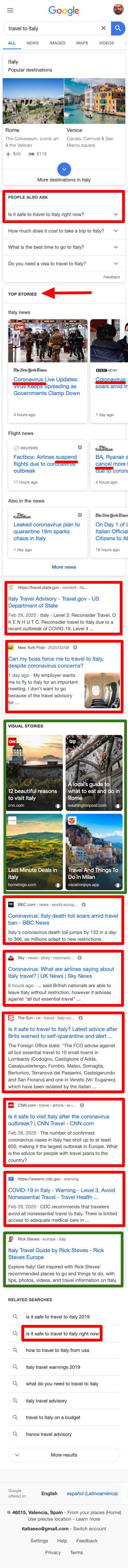 Travel to Italy Google.com SERP march 9th 2020