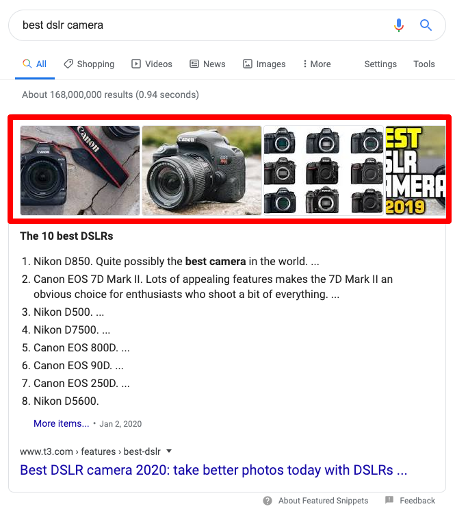 image carousel in featured snippet