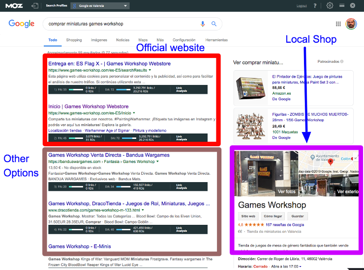 Example of Navigational Search Intent query SERP