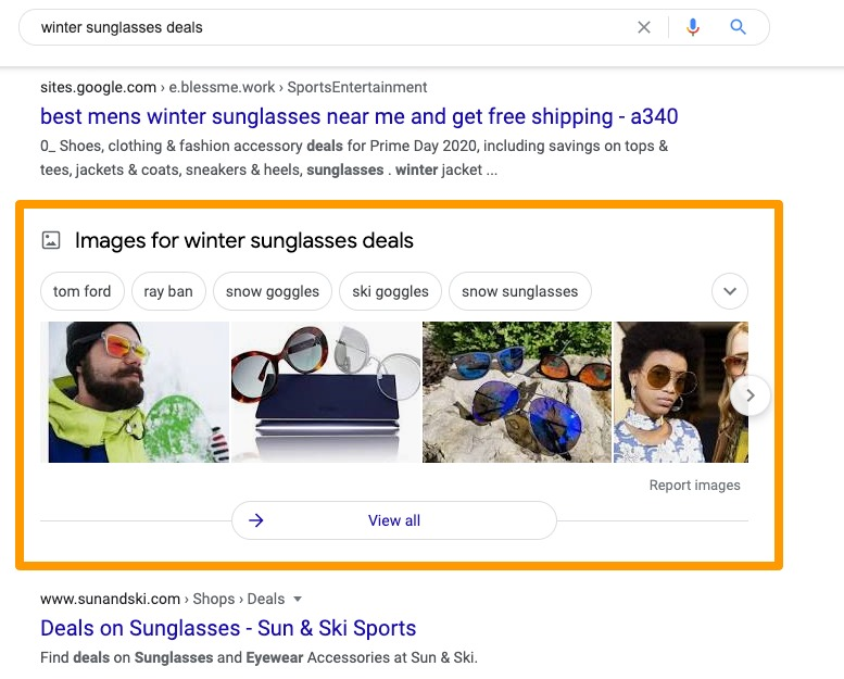 Example of transactional search intent SERPs